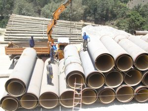 Stoccaggio dei tubi in cantiere