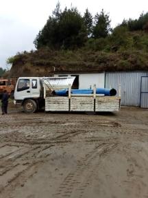 le ultime parti della turbina sul nostro camion per il trasporto in centrale